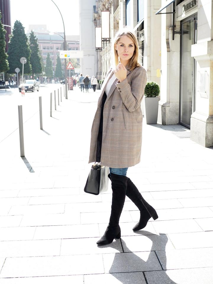 Modeblogger Hamburg, Fashionblogger, Fashionblogger Hamburg, Beautyblogger Hamburg, Beautyblogger, Beauty, Travelblogger, Travel, Hamburg, Karo Trend, Karo, Karo Blazer, Karo Blazer Trend, kariert, Zara, Overknees, Stiefel, Cox, Görtz
